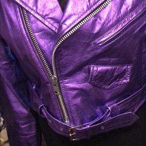 80s metallic moto jacket by la roxx vintage size L